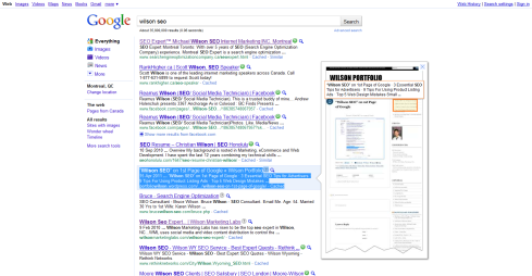 Wilson SEO on 1st page of Google